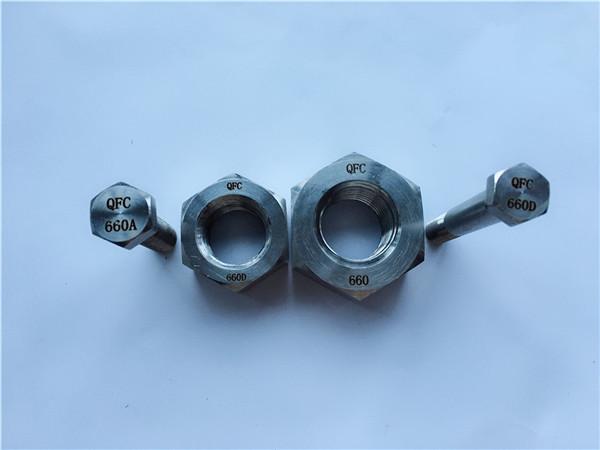 aliaj 660 șuruburi și piulițe hexagonale, elemente de fixare din1.4980